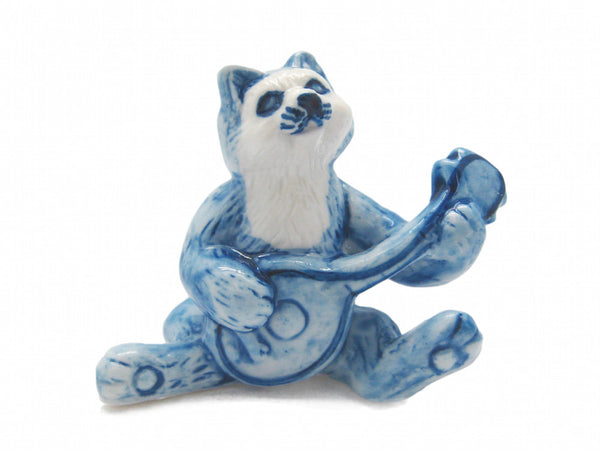 Miniature Musical  Cat With Banjo Delft Blue
