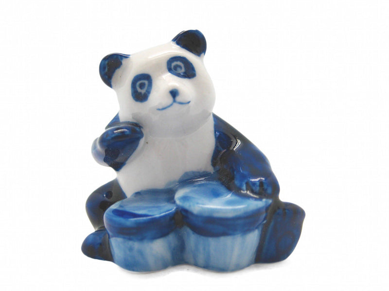 Miniature Musical  Panda With Drum Delft Blue - Animal, Blue, Collectibles, Color, Decorations, Delft Blue, Dutch, Figurines, General Gift, Home & Garden, Miniatures, PS-Party Favors