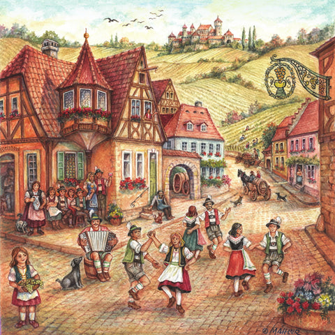 Village Dancers Scene German Gift Magnet Tile
