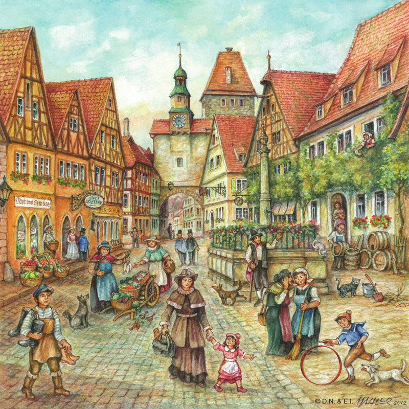 Village Street Scene German Gift Magnet Tile