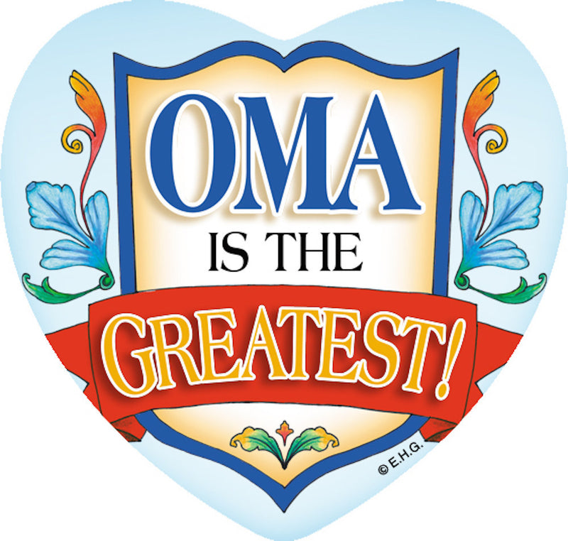 Ceramic Tile Magnet Oma Greatest - Collectibles, CT-100, CT-102, CT-210, CT-220, Dutch, German, Germany, Heart, Home & Garden, Kitchen Magnets, Magnet Tiles, Magnet Tiles-German, Magnet Tiles-Heart, Magnets-German, Magnets-Refrigerator, Oma, PS-Party Favors, SY: Oma is the Greatest