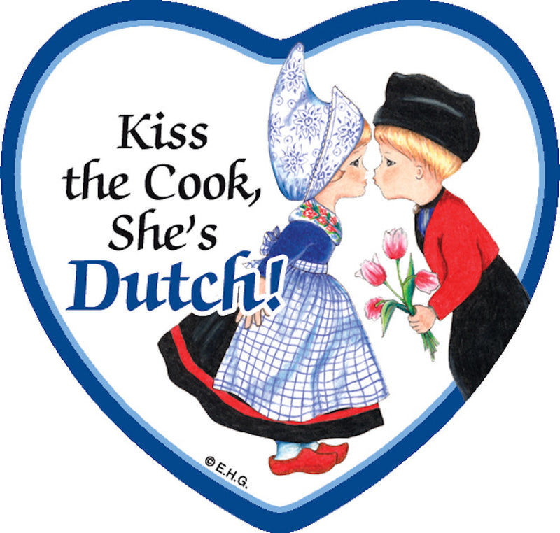 Refrigerator Tile Dutch Cook - Collectibles, CT-210, Dutch, Heart, Home & Garden, Kissing Couple, Kitchen Decorations, Kitchen Magnets, Magnet Tiles, Magnet Tiles-Dutch, Magnet Tiles-Heart, Magnets-Dutch, Magnets-Refrigerator, PS-Party Favors, SY: Kiss Cook-Dutch, Top-DTCH-B, Wife