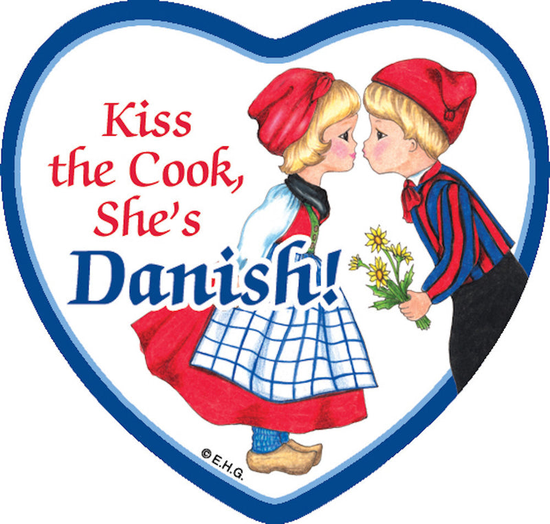 Refrigerator Tile Danish Cook - Below $10, Collectibles, CT-205, Danish, Heart, Home & Garden, Kissing Couple, Kitchen Magnets, Magnet Tiles, Magnet Tiles-Danish, Magnet Tiles-Heart, Magnets-Refrigerator, PS-Party Favors, SY: Kiss Cook-Danish, Top-DNMK-A, Wife