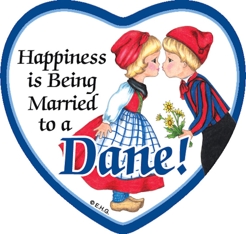 Refrigerator Tile Married to Dane - Below $10, Collectibles, CT-205, Danish, Heart, Home & Garden, Kissing Couple, Kitchen Magnets, Magnet Tiles, Magnet Tiles-Danish, Magnet Tiles-Heart, Magnets-Refrigerator, PS-Party Favors, SY: Happiness Married to Danish, Top-DNMK-A