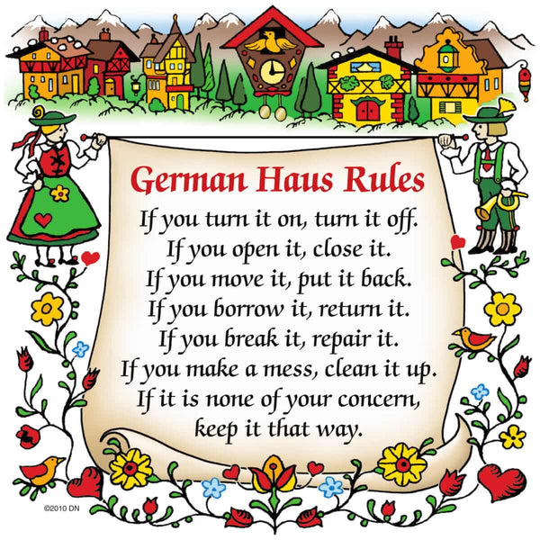 German Gift Idea Magnet German Haus Rules