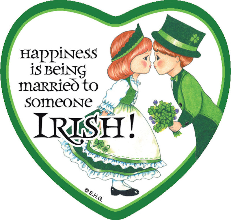 Tile Magnet Married to Irish - Below $10, Collectibles, CT-230, Home & Garden, Irish, Kitchen Magnets, Magnet Tiles, Magnet Tiles-Heart, Magnet Tiles-Irish, Magnets-Refrigerator, PS-Party Favors, SY: Happiness Married to Irish