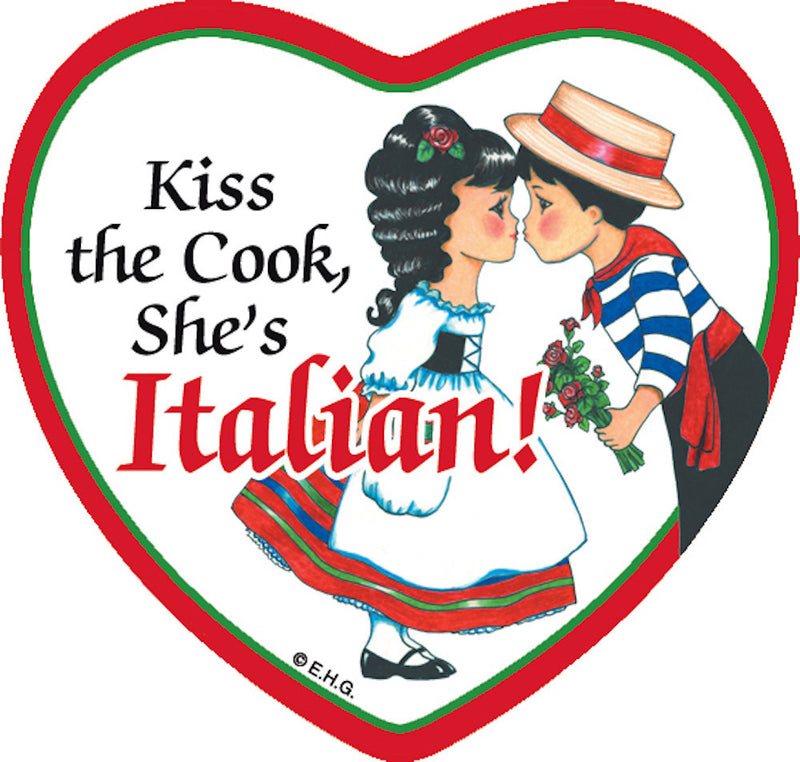 Tile Magnet Italian Cook - Below $10, Collectibles, CT-225, Home & Garden, Italian, Kitchen Magnets, Magnet Tiles, Magnet Tiles-Heart, Magnet Tiles-Italian, Magnets-Refrigerator, PS-Party Favors, SY: Kiss Cook-Italian, Wife