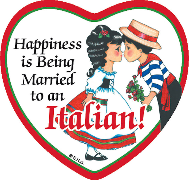 Tile Magnet Married to Italian - Below $10, Collectibles, CT-225, Home & Garden, Italian, Kitchen Magnets, Magnet Tiles, Magnet Tiles-Heart, Magnet Tiles-Italian, Magnets-Refrigerator, PS-Party Favors, SY: Happiness Married to Italian