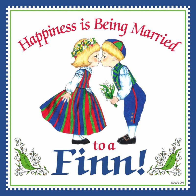 Finnish Souvenirs Magnetic Tile Happiness Married To A Finn
