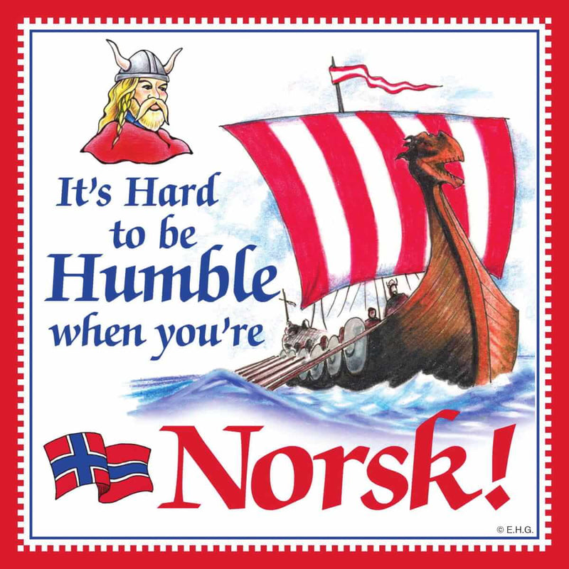 Norwegian Gift Magnet Tile Humble Norsk
