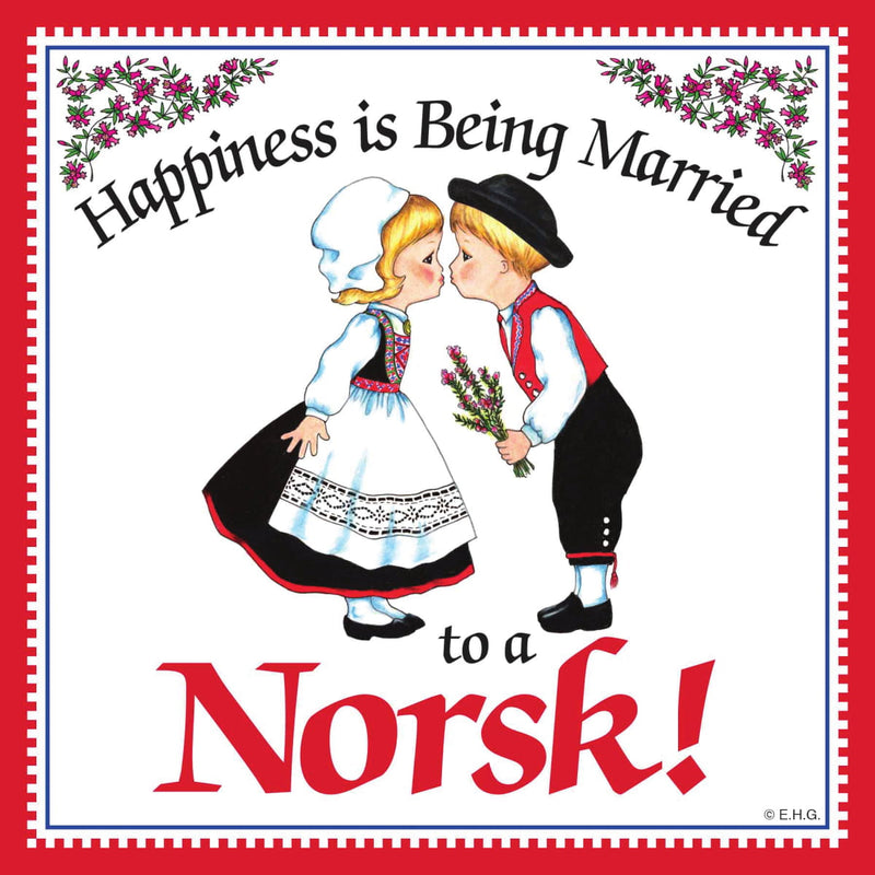 Norwegian Gift Magnet Tile Happiness Married To Norsk