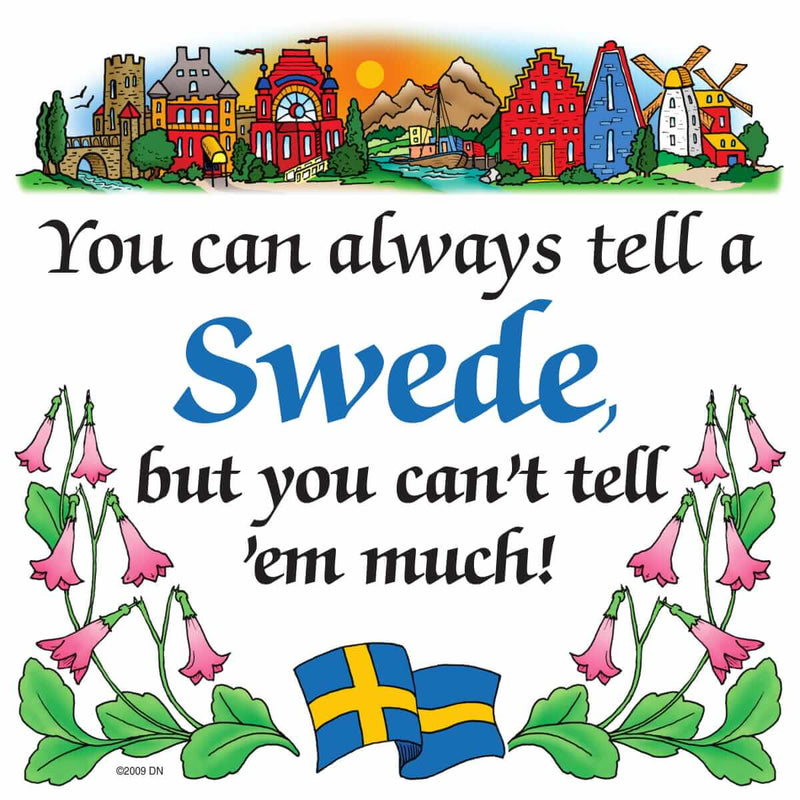 Swedish Souvenirs Magnet Tile Tell Swede