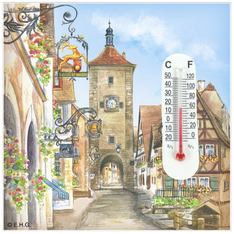Thermometer Tile Magnet Euro Village - Collectibles, CT-220, CT-520, German, Germany, Home & Garden, Kitchen Magnets, Magnet Tiles, Magnet Tiles-Scenic, Magnets-Refrigerator, PS-Party Favors, PS-Party Favors German, Thermometer, Top-GRMN-B