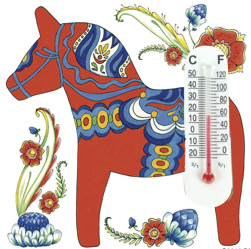 Red Dalarna Horse Thermometer Tile Magnet - Below $10, Collectibles, CT-150, Dala Horse, Dala Horse Red, Dala Horse-Magnets, Decorations, Home & Garden, Kitchen Magnets, Magnet Tiles, Magnets-Refrigerator, PS-Party Favors, swedish, Thermometer, Top-SWED-B