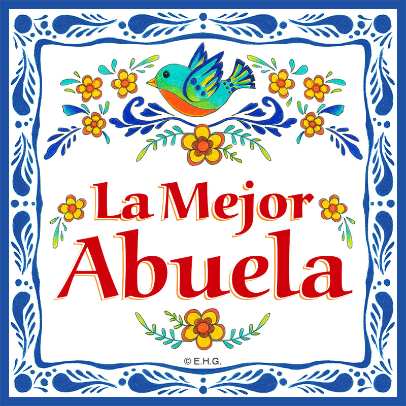 La Mejor Abuela inches Magnet Kitchen Tile - Abuela, CT-100, CT-235, Latino, Magnets-Refrigerator, New Products, NP Upload, Spanish, SY:, SY: Mejor Abuela, Under $10, Yr-2016