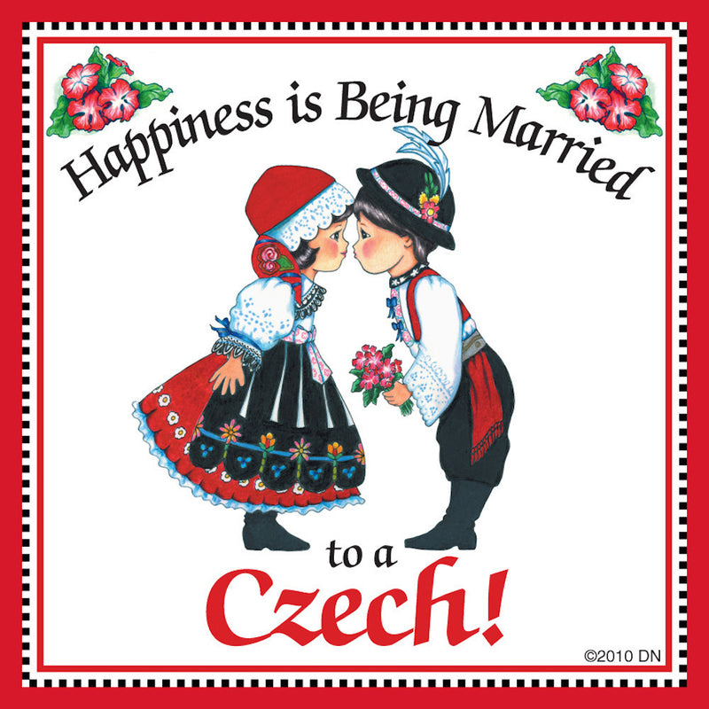 Czech Gift  inchesMarried to Czech inches - Below $10, Collectibles, CT-150, CT-200, Czech, Home & Garden, Kissing Couple, Kitchen Magnets, Magnet Tiles, Magnet Tiles-Czech, Magnets-Refrigerator, PS-Party Favors, SY: Happiness Married Czech