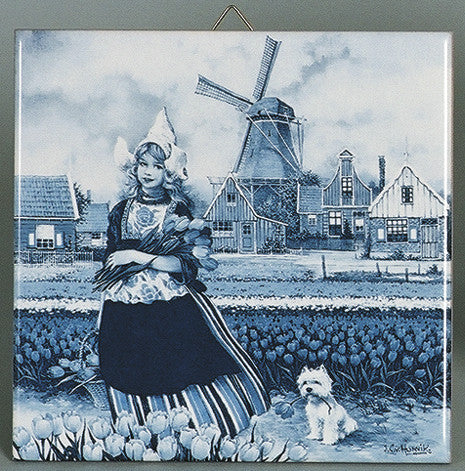 Tulip Time Girl Delft Tile Magnet - Collectibles, CT-210, Decorations, Dutch, Home & Garden, Kitchen Magnets, Magnet Tiles, Magnet Tiles-Scenic, Magnets-Dutch, Magnets-Refrigerator, PS-Party Favors, Tulips, Van Hunnik