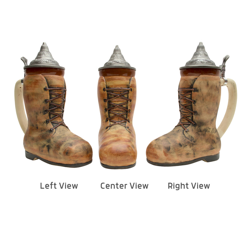 Look no further for a unique beer stein! This rustic ceramic beer boot is an exclusive design and is topped with an ornate metal lid.
