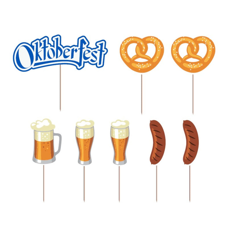 Oktoberfest Party Supplies 8 Piece Food or Cake Topper Assorted Party Decorations