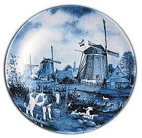 Collectible Blue Color Plate Calves and Windmill
