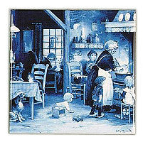 Dutch Gift Delft Blue Plaque Family Scene