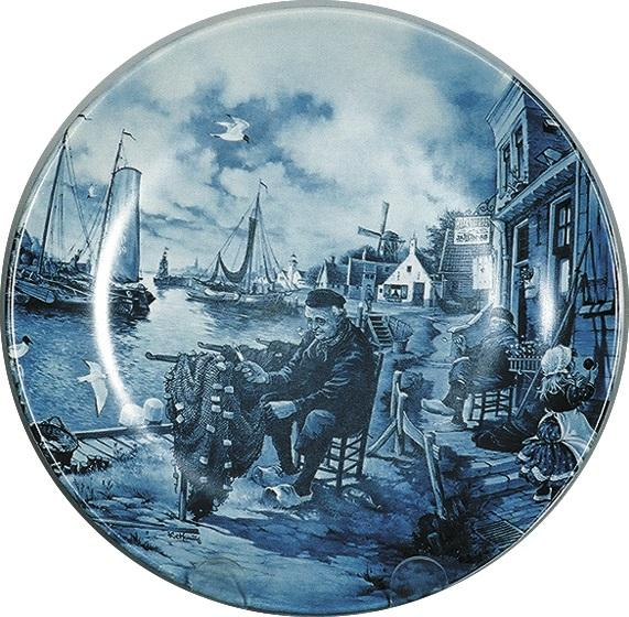 Collectors Plate Fisherman Blue