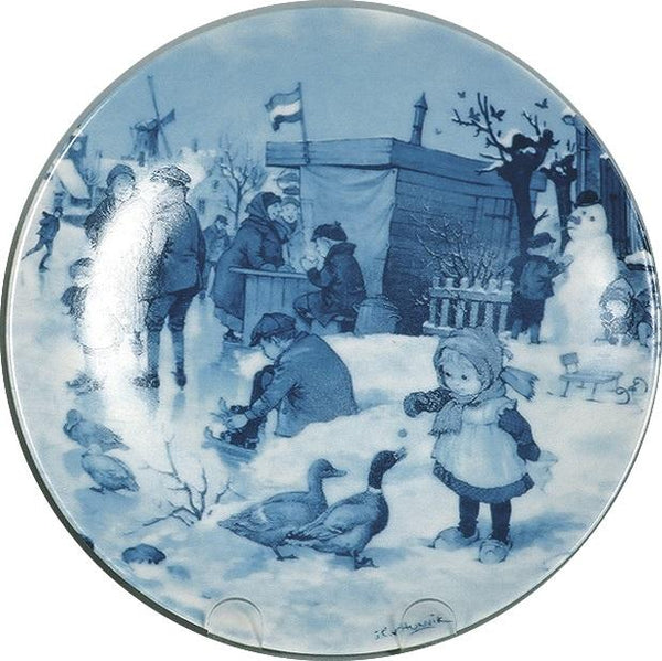 Collectible Blue Plate Girl with Ducks