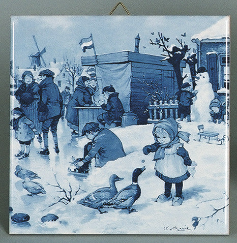 Decorative Wall Tiles Delft Girl/Ducks Scene - Animal, Below $10, Collectibles, CT-210, Decorations, Dutch, Home & Garden, Tiles-Scenic, Van Hunnik, Windmills