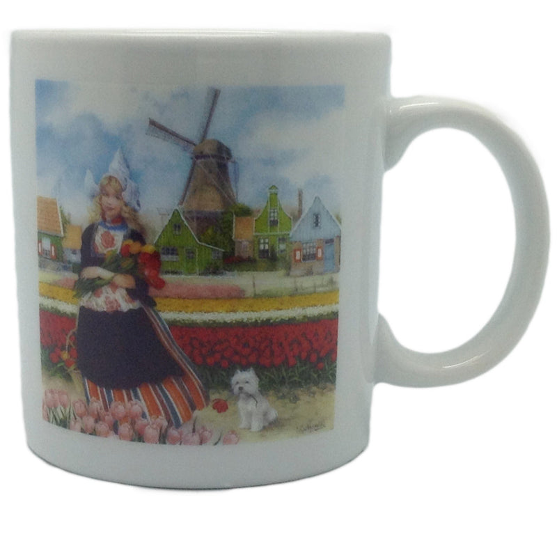 Tulip Time Girl Color Dutch Cup - Below $10, Coffee Mugs, Coffee Mugs-Dutch, Collectibles, Decorations, Drinkware, Dutch, Home & Garden, Tableware, Tulips, Van Hunnik, Windmills