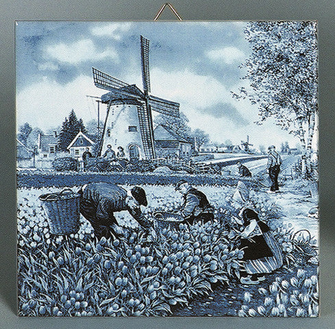 Tulip Pickers Delft Dutch Tile