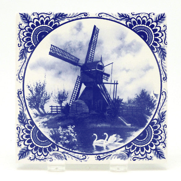 Souvenir Delft Blue Windmill Tile - Below $10, Collectibles, CT-210, Decorations, Dutch, Home & Garden, Tiles-Scenic, Van Hunnik, Windmills
