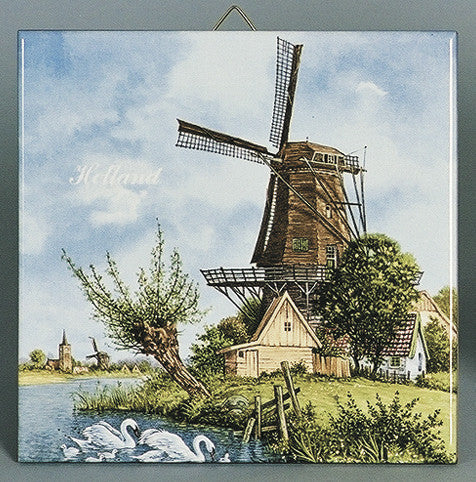 Holland Tile Windmill and Swan Color - Animal, Collectibles, CT-210, Decorations, Dutch, Home & Garden, Tiles-Scenic, Van Hunnik, Windmills