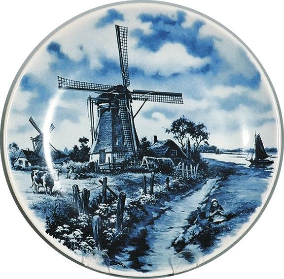 Collectors Plate Mill with Cow Blue
