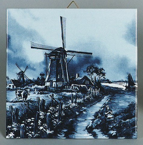 Dutch Gift Delft Blue Tile Mill with Cow - Animal, Below $10, Collectibles, CT-210, Decorations, Dutch, Home & Garden, Tiles-Scenic, Van Hunnik, Windmills