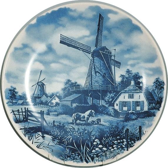 Collectible Blue Color Plate Mill with Pony