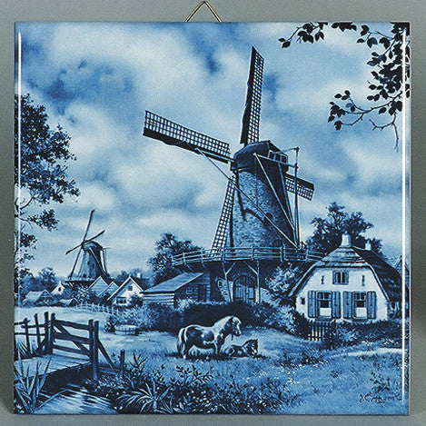 Dutch Wall Plaque Delft Blue Tile Mill with Pony