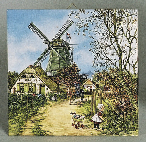 Dutch Tile Four Seasons Fall Color - Below $10, Collectibles, CT-210, Decorations, Dutch, Home & Garden, Tiles-Scenic, Van Hunnik, Windmills