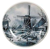 Collectors Plate Winter Scene Blue
