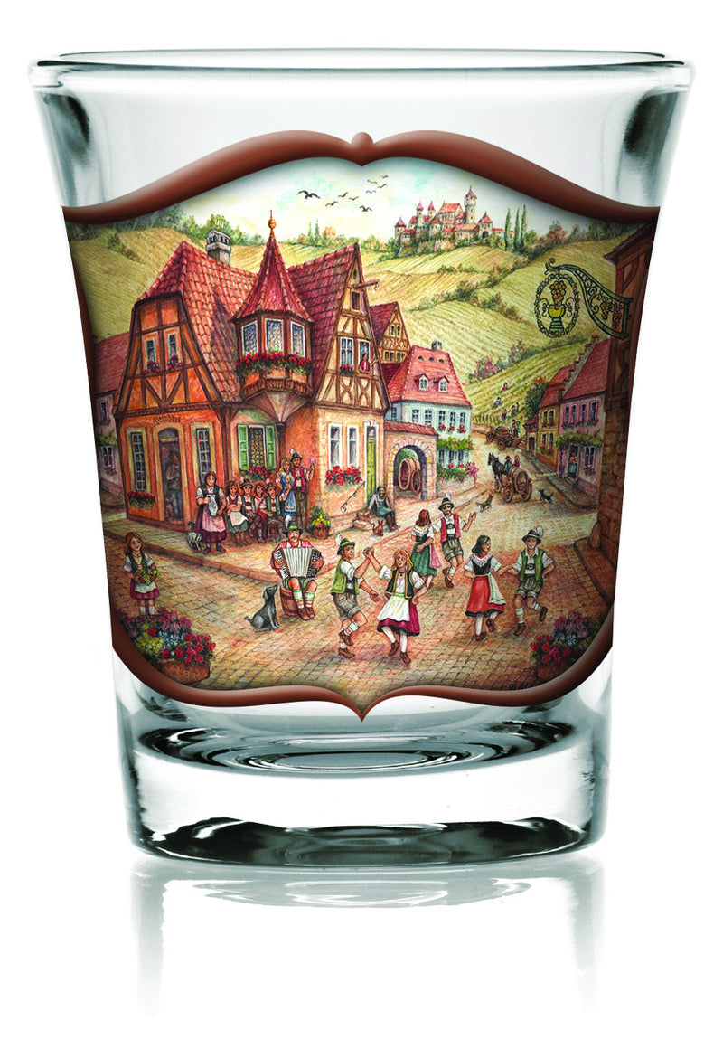 Oktoberfest Shot Glass Village Dancers Clear - Alcohol, Barware, Clear, Collectibles, Drinkware, Frosted, German, Germany, Glass, Home & Garden, PS- Oktoberfest Party Favors, PS-Party Favors, PS-Party Favors German, Shot Glasses, Shots-Glass, Tableware, Top-GRMN-B