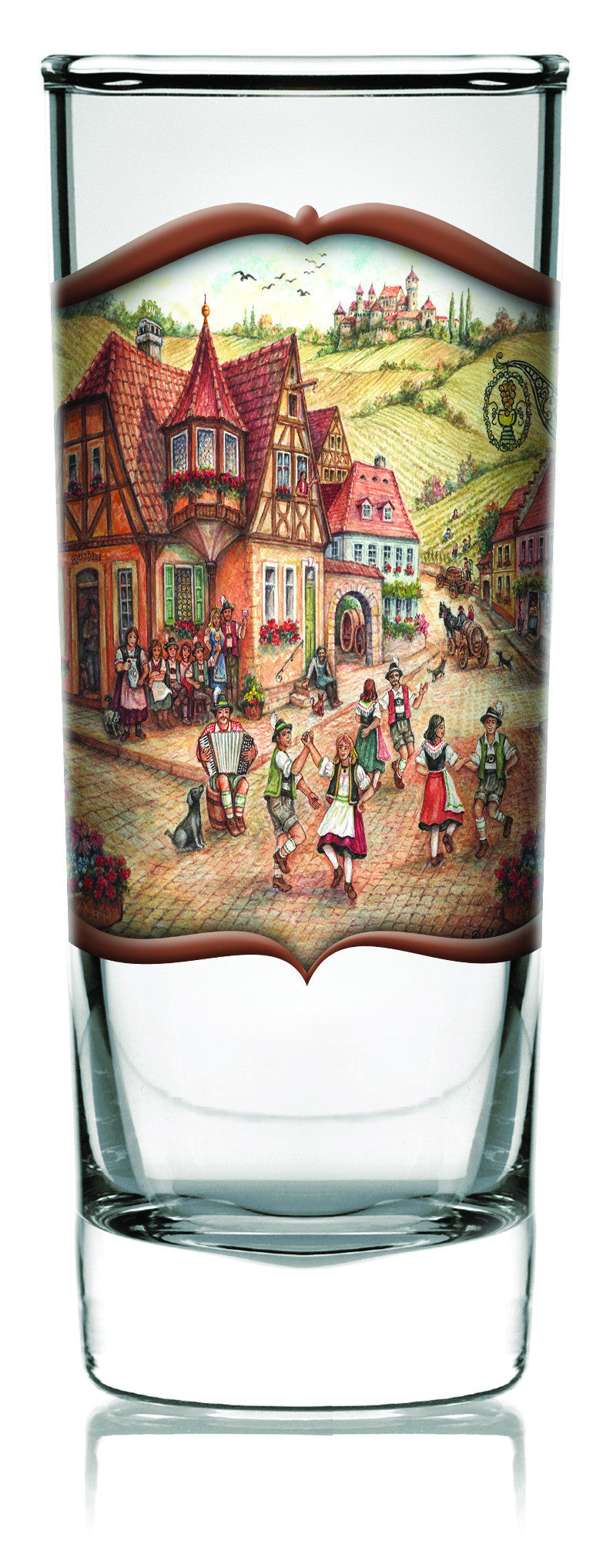 Oktoberfest Shooter Village Dancers Clear - Alcohol, Barware, Clear, Collectibles, Drinkware, Frosted, German, Germany, Glass, Home & Garden, PS- Oktoberfest Party Favors, PS-Party Favors, PS-Party Favors German, Shot Glasses, Shots-Glass, Tableware - 2