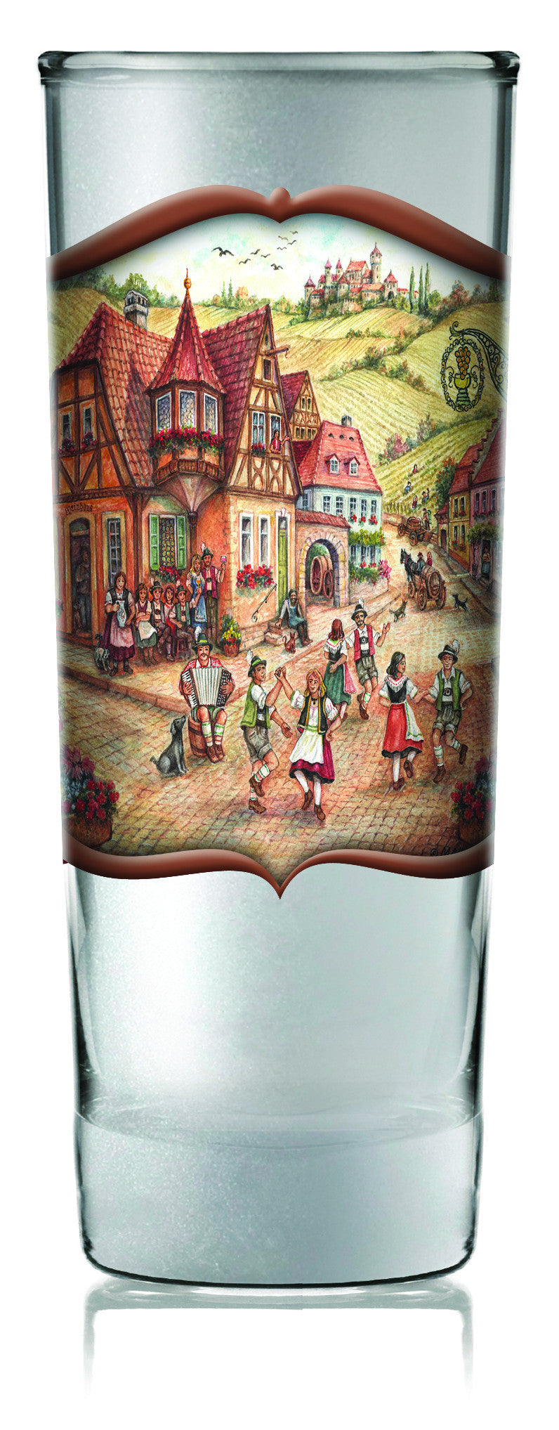 Oktoberfest German Shooter Village Dancers - Alcohol, Barware, Clear, Collectibles, Drinkware, Frosted, German, Germany, Glass, Home & Garden, PS- Oktoberfest Party Favors, PS-Party Favors, PS-Party Favors German, Shot Glasses, Shots-Glass, Tableware