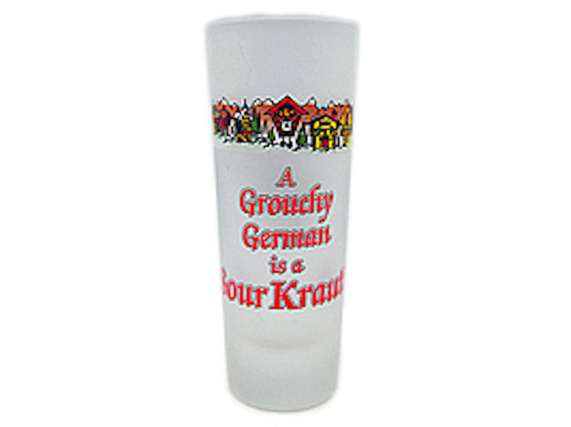 Oktoberfest Party Favor Shooter Grouchy German Clear - Alcohol, Barware, Clear, Collectibles, Drinkware, Frosted, German, Germany, Glass, Home & Garden, PS- Oktoberfest Party Favors, PS-Party Favors, PS-Party Favors German, Shot Glasses, Shots-Glass, SY: Grouchy German, Tableware - 2 - 3 - 4