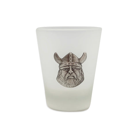 Frosted Shot Glass with Viking Metal Medallion