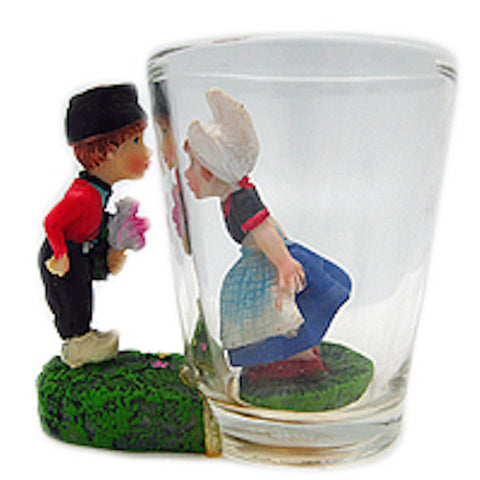 Souvenir Shot Glass 3 D Dutch Boy & Girl