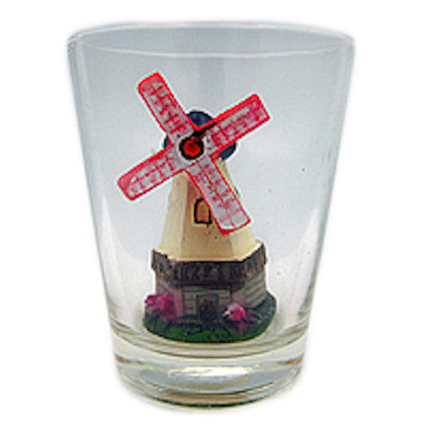 Souvenir Shot Glass 3 D Windmill & Flowers - Alcohol, Barware, Clear, Collectibles, Drinkware, Dutch, Glass, Home & Garden, PS-Party Favors, PS-Party Favors Dutch, Shot Glasses, Shots-Glass, Tableware, Tulips, Windmills