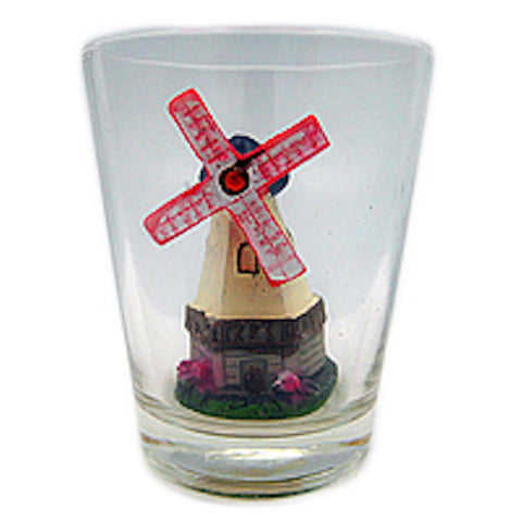 Souvenir Shot Glass 3 D Windmill & Flowers
