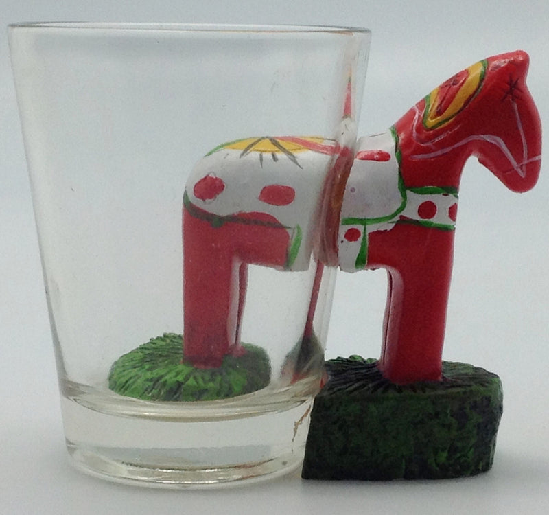 Dala Horse 3 D Novelty Shot Glass - Alcohol, Barware, Below $10, Clear, Collectibles, CT-150, Dala Horse, Drinkware, Glass, Home & Garden, PS-Party Favors, PS-Party Favors Dala, PS-Party Favors Swedish, Scandinavian, Shot Glasses, Shots-Glass, swedish, Tableware - 2
