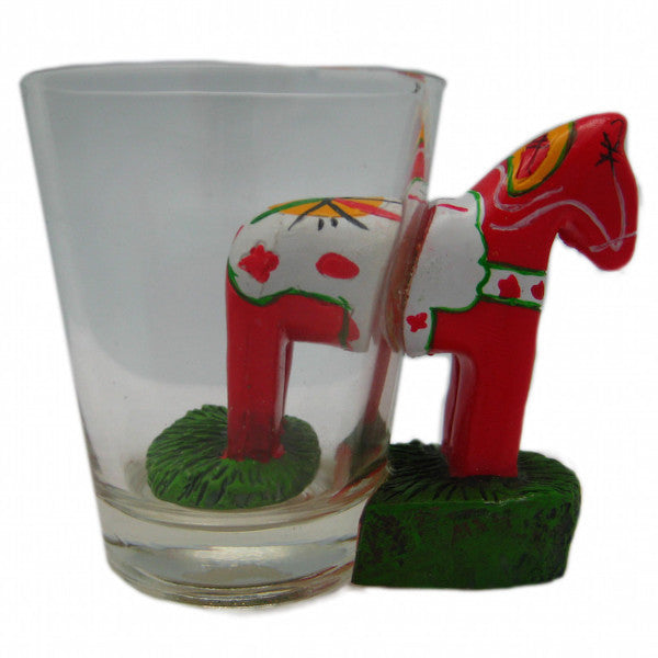Dala Horse 3 D Novelty Shot Glass - Alcohol, Barware, Below $10, Clear, Collectibles, CT-150, Dala Horse, Drinkware, Glass, Home & Garden, PS-Party Favors, PS-Party Favors Dala, PS-Party Favors Swedish, Scandinavian, Shot Glasses, Shots-Glass, swedish, Tableware