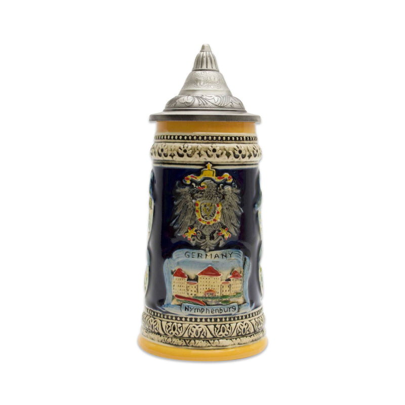 German Landmarks Ceramic Beer Stein with Engraved Metal Lid