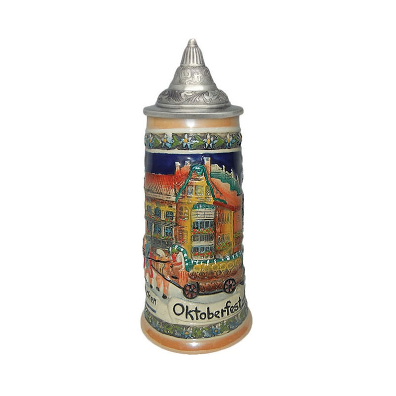 Oktoberfest Munchen Engraved Beer Stein with Metal Lid